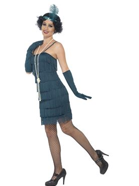 Adult Short Teal Flapper Costume - Back View