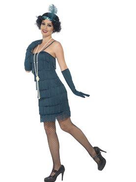 Adult Short Teal Flapper Costume - Back View