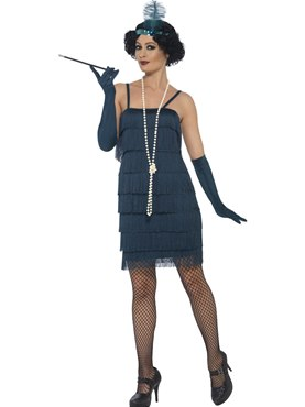 Adult Short Teal Flapper Costume