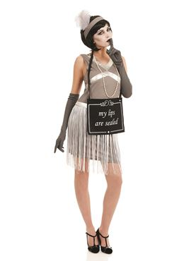 Adult Silent Film Flapper Girl Costume Couples Costume