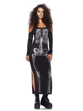 Adult Skeleton Cold Shoulder Dress Costume Thumbnail