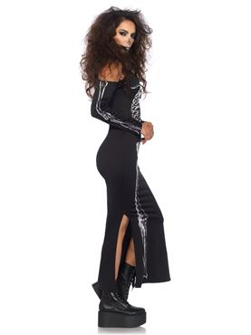 Adult Skeleton Cold Shoulder Dress Costume - Back View