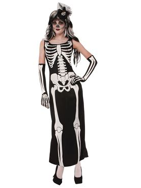 Adult Skeleton Long Dress Costume