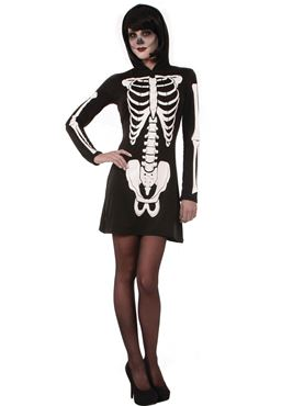 Adult Skeleton Mini Dress Costume
