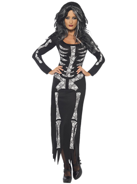 Adult Skeleton Tube Dress Costume Couples Costume