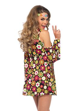 Adult Star Flower Hippie Costume - Back View