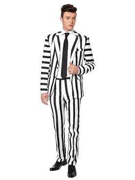 Adult Striped Black and White Suitmeister Suit