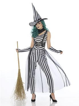 Adult Stripey Witch Costume - Back View