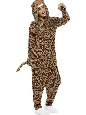 Adult Tiger Onesie Costume - Back View