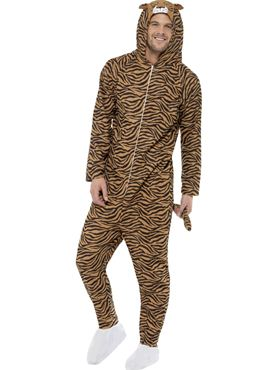 Adult Tiger Onesie Costume Thumbnail