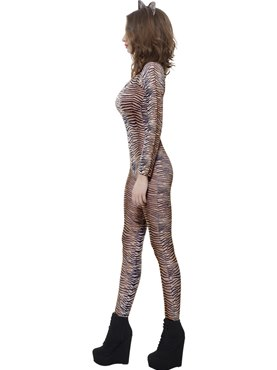 Adult Tiger Print Bodysuit - Back View