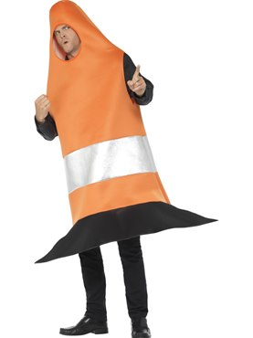 Adult Traffic Cone Costume - Back View