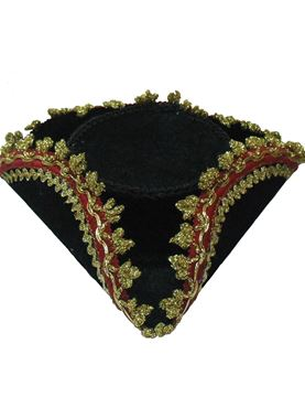 Adult Tricorn Mini Hat with Gold Edge