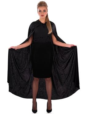 Adult Black Velour Hooded Cape - Back View