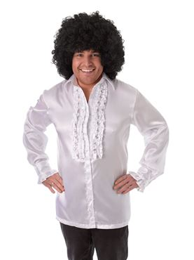 Adult White Satin Ruffle Shirt
