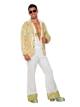 Adult White Sequin Disco Trousers