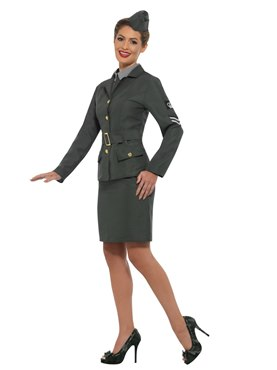 Adult WW2 Army Girl Costume - Back View