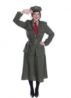 Adult WW2 Army Officer Lady Costume