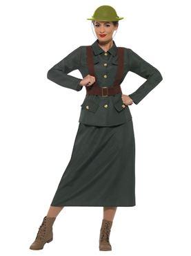 Adult WW2 Army Warden Lady Costume - Side View