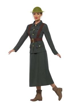 Adult WW2 Army Warden Lady Costume - Back View