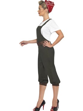 Adult WW2 Land Girl Costume - Back View