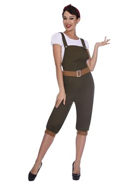 Adult WW2 Land Girl Costume - Side View