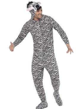 Adult Zebra Onesie Costume - Back View