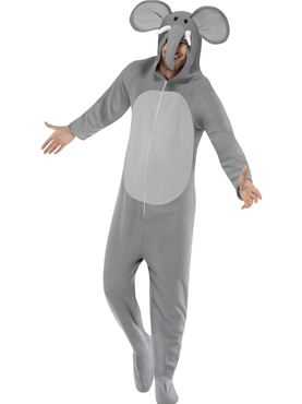 Adult Elephant Onesie Costume - Back View