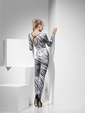 Adult Zebra Print Bodysuit - Side View