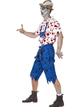 Adult Zombie Bavarian Male Costume - Back View
