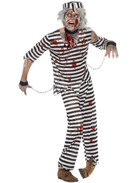 Adult Zombie Convict Male Costume Couples Costume