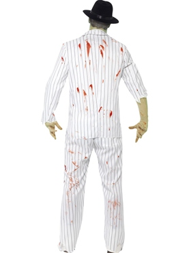 Adult White Zombie Gangster Costume - Side View