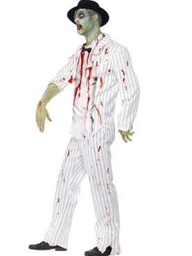 Adult White Zombie Gangster Costume - Back View