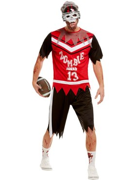 Adult Zombie Footballer Costume - Back View