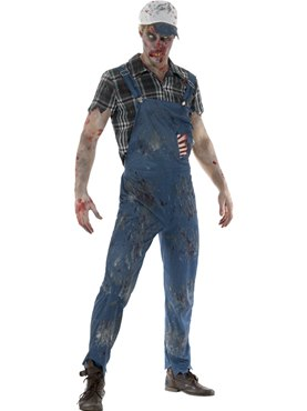 Adult Zombie Hillbilly Costume - Back View