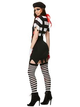 Adult Zombie Mime Girl Costume - Back View