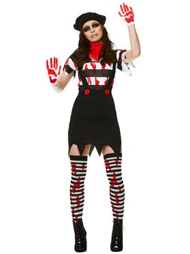 Adult Zombie Mime Girl Costume Couples Costume
