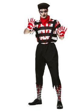 Adult Zombie Mime Guy Costume - Back View