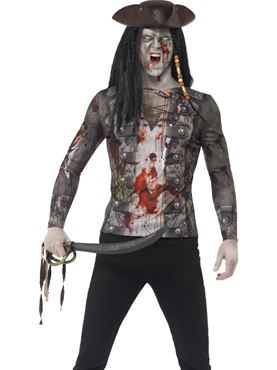 Adult Zombie Pirate T-Shirt Couples Costume