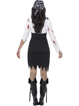 Adult Zombie Pirate Lady Costume - Side View