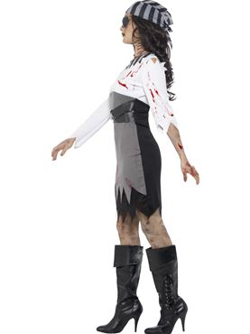 Adult Zombie Pirate Lady Costume - Back View