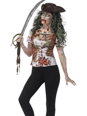 Adult Zombie Pirate Wench T-Shirt