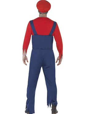 Adult Zombie Mario Plumber Costume - Side View