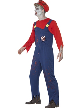 Adult Zombie Mario Plumber Costume - Back View