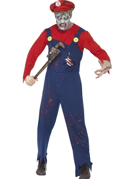 Adult Zombie Mario Plumber Costume Thumbnail
