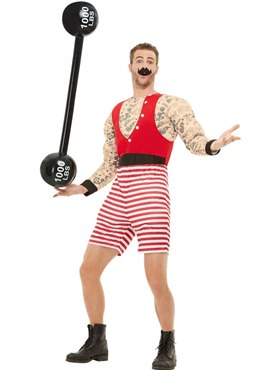 Adults Deluxe The Greatest Showman Strongman Costume - Back View