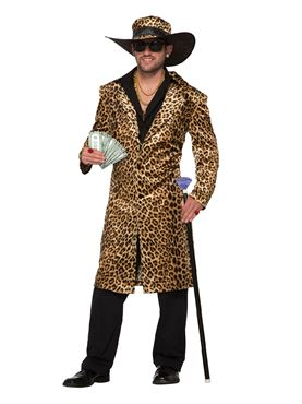 Adults Funky Leopard Pimp Jacket and Hat Costume Couples Costume