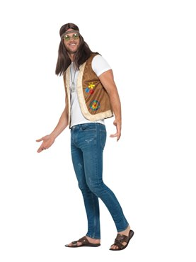Adults Unisex Hippie Waistcoat - Back View