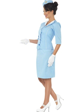 Adult Ladies Blue Air Hostess Costume - Back View