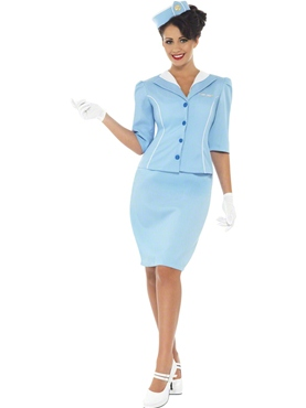 Adult Ladies Blue Air Hostess Costume
